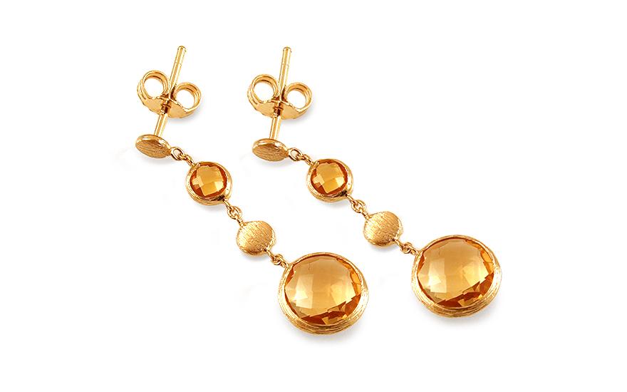 Zlaté visací náušnice s citrínem Nidia IZ12374
