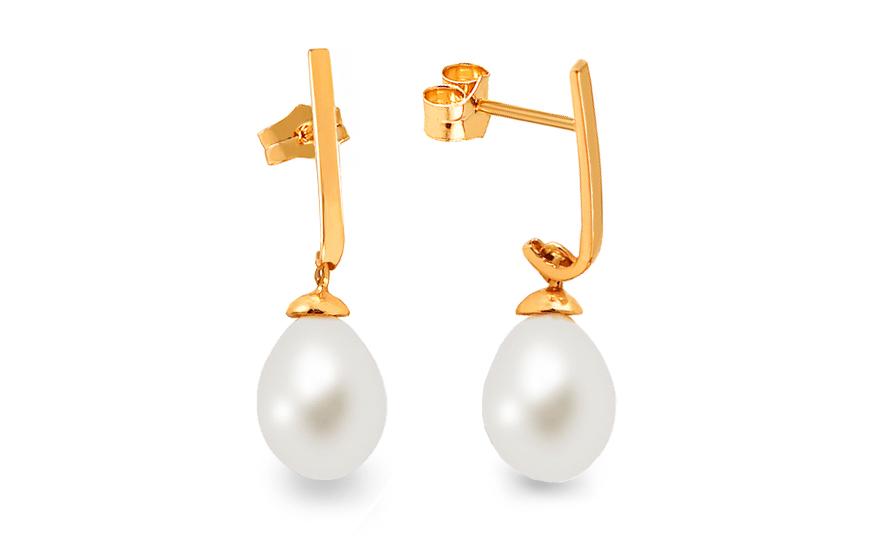 Zlaté visací náušnice s perlou IZ8122