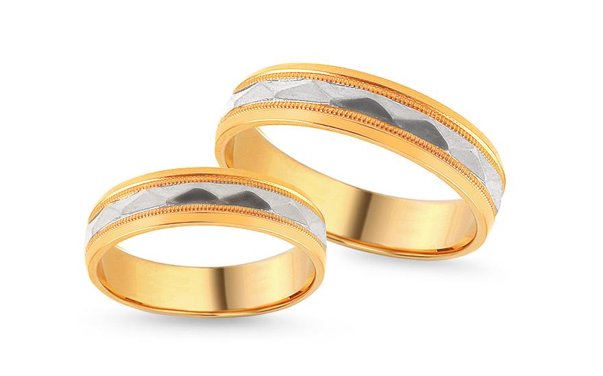 Zlaté zásnubní kombinované prsteny s gravírováním, šířka 5 mm IZOB117YW