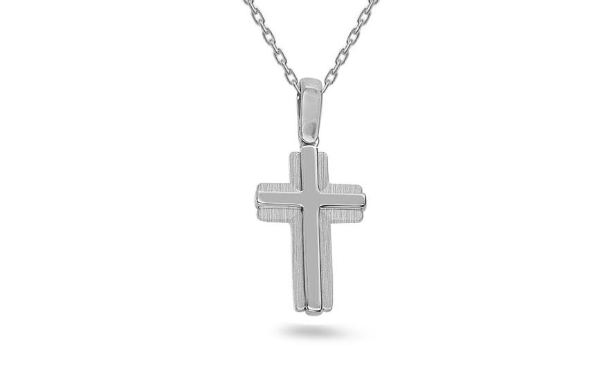 Zlatý bílý křížek IZ8716A