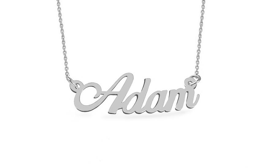 Zlatý bílý řetízek se jménem Adam IZ9076A