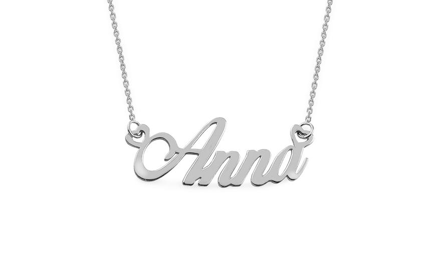 Zlatý bílý řetízek se jménem Anna IZ7566A