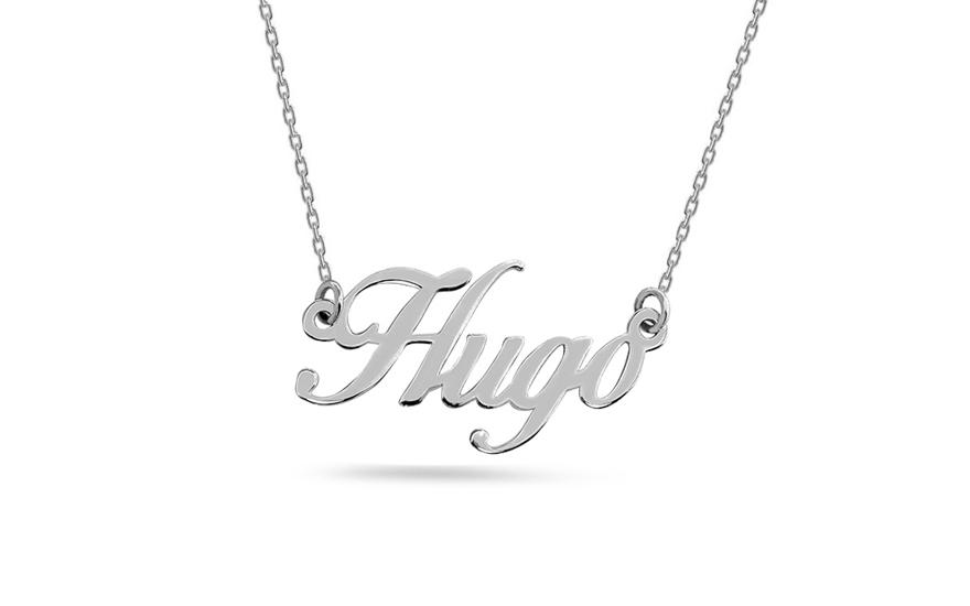 Zlatý bílý řetízek se jménem Hugo IZ9093A