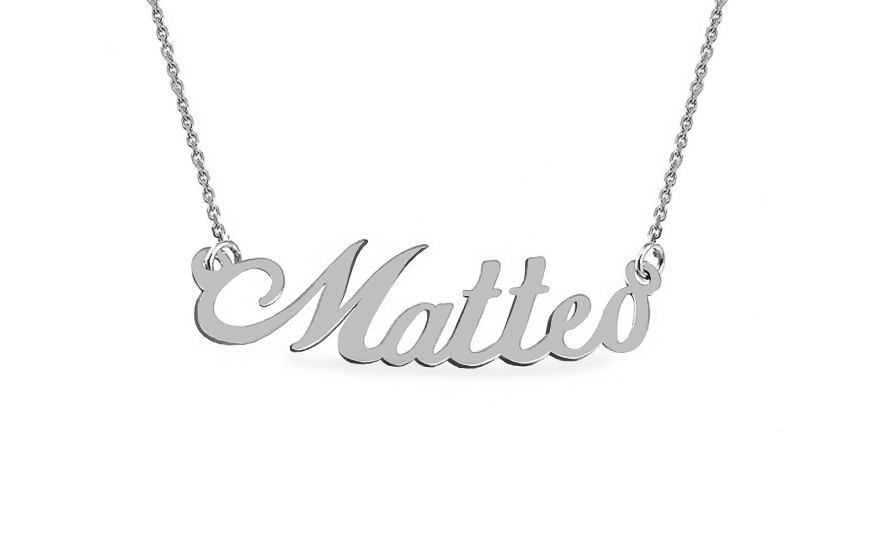 Zlatý bílý řetízek se jménem Matteo IZ9072A