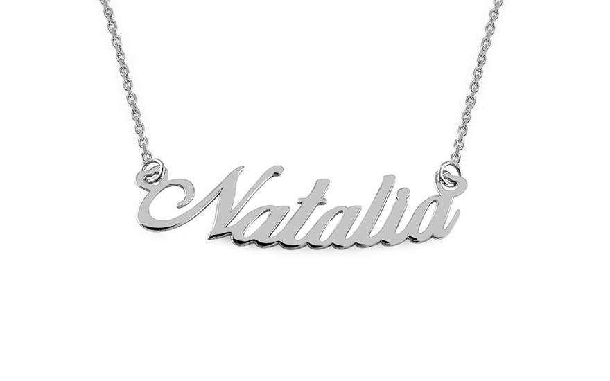 Zlatý bílý řetízek se jménem Natalia IZ7886A