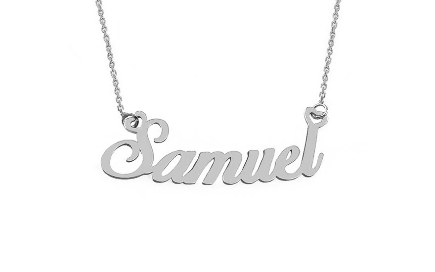 Zlatý bílý řetízek se jménem Samuel IZ9075A