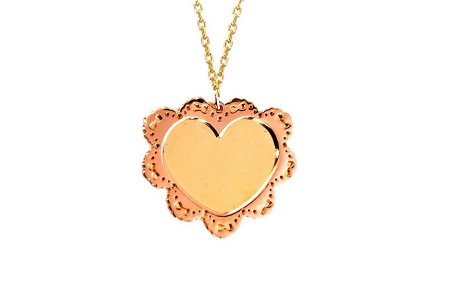 Zlatý dámský náhrdelník Srdce pink IZ6357