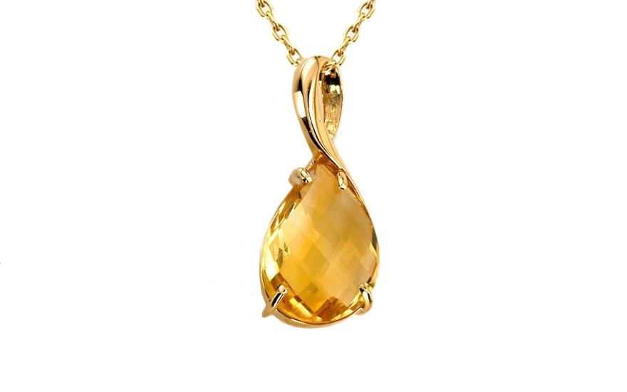 Zlatý dámský přívěsek s citrínem Brigitte IZ6266