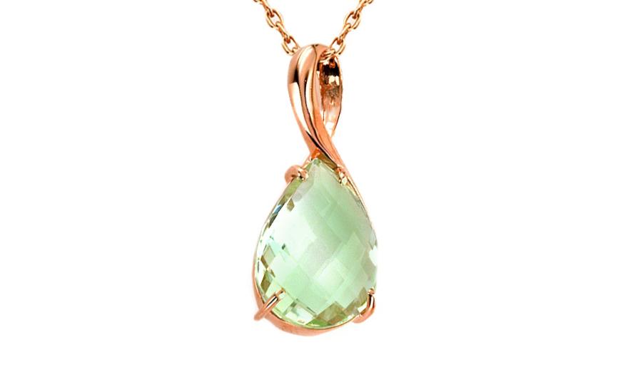 Zlatý dámský přívěsek se zeleným ametystem Brigitte IZ6268