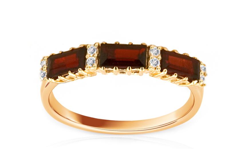 Zlatý dámský prsten s kamenem s pravými granáty IZ5689
