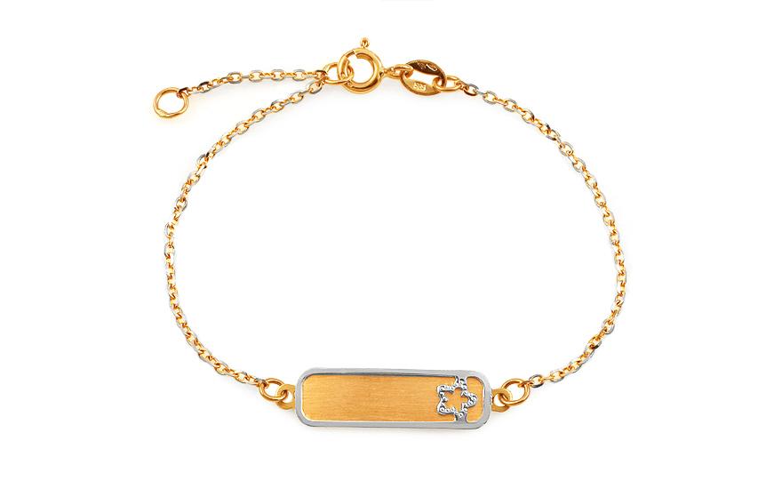 Zlatý dětský náramek HVĚZDA s ploténkou na gravírování IZ4546