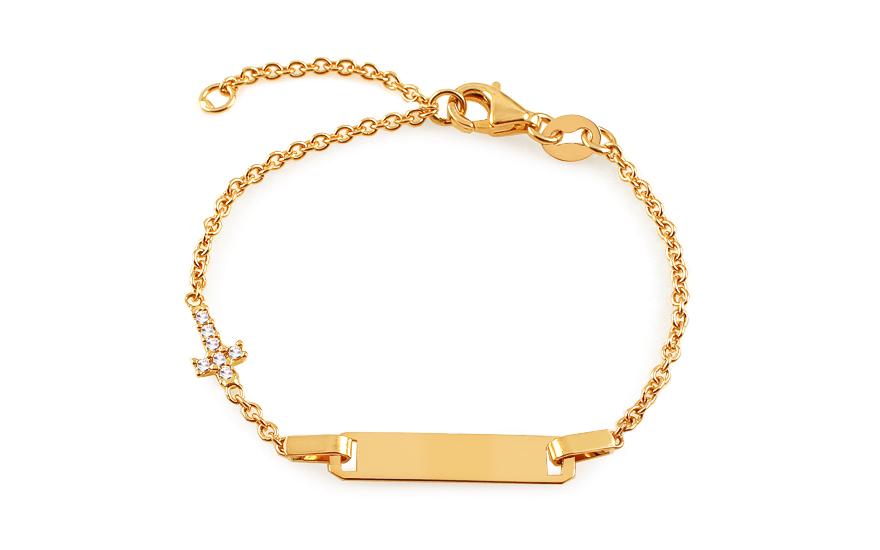 Zlatý dětský náramek s destičkou a křížkem se zirkony IZ13077