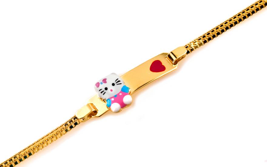 Zlatý dětský náramek s kočičkou IZ6200