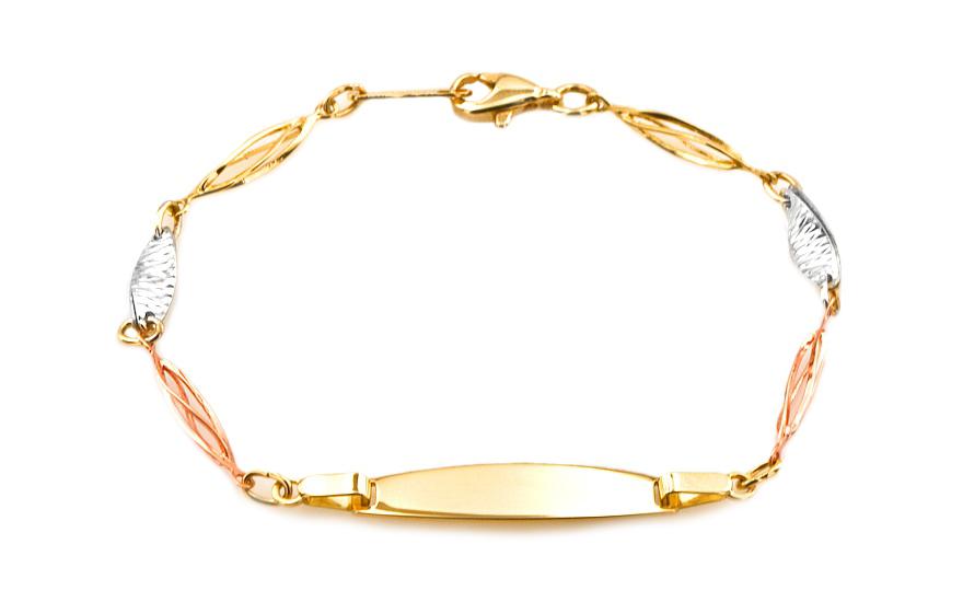 Zlatý dětský náramek s plotýnkou IZ6863