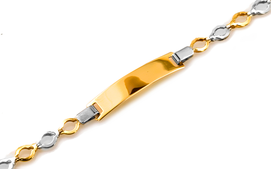 Zlatý dětský náramek s plotýnkou na gravírování IZ6139