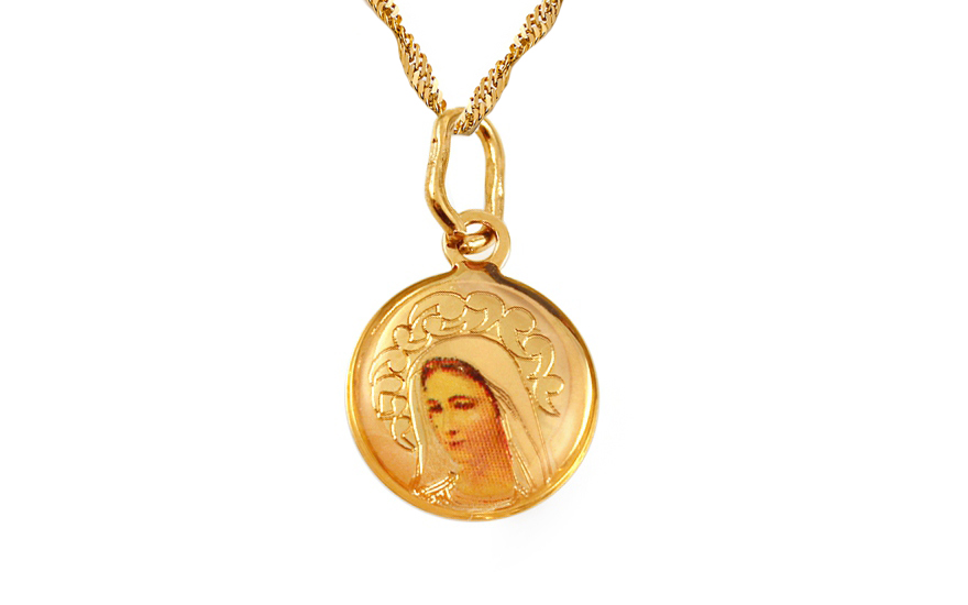 Zlatý dětský přívěsek panna Marie IZ3477