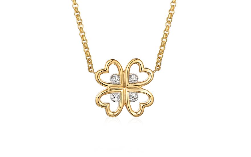 48eb37149 Zlatý diamantový náhrdelník s přívěskem Čtyřlístek pro štěstí 0.020 ct -  IZBR614