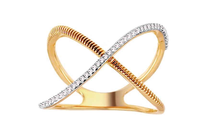 Zlatý diamantový prsten Ansley KU553