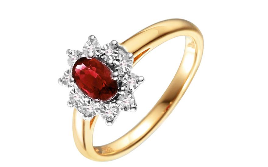 Zlatý diamantový prsten s rubínem Loyola IZBR181R
