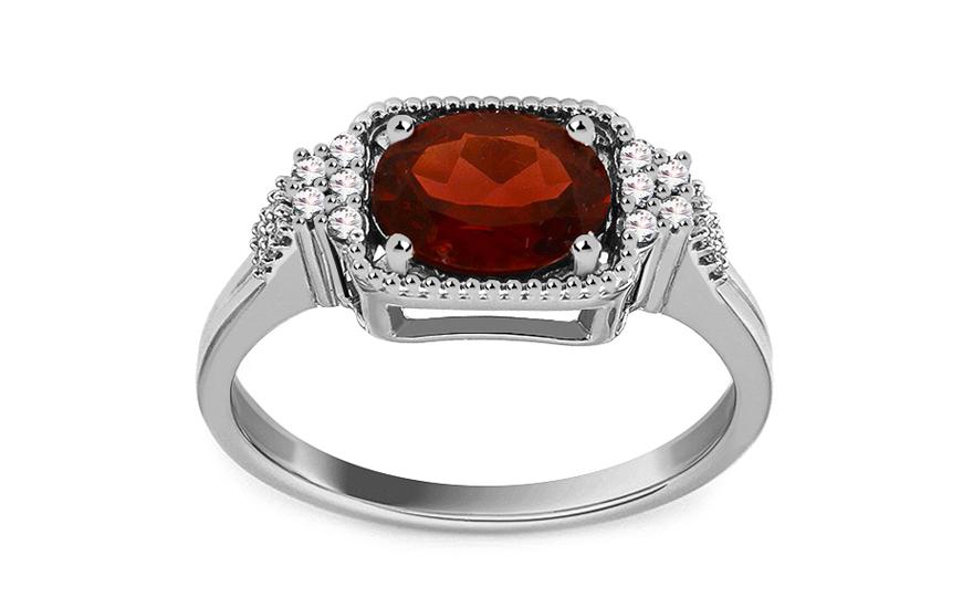 Zlatý diamantový prsten s rubínem Mikayla KU474