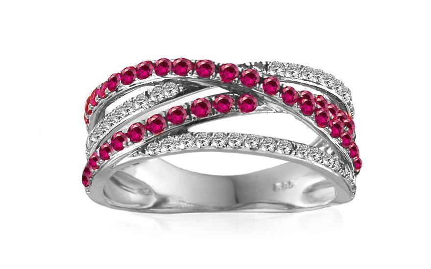 Zlatý diamantový prsten s rubíny IZBR225R