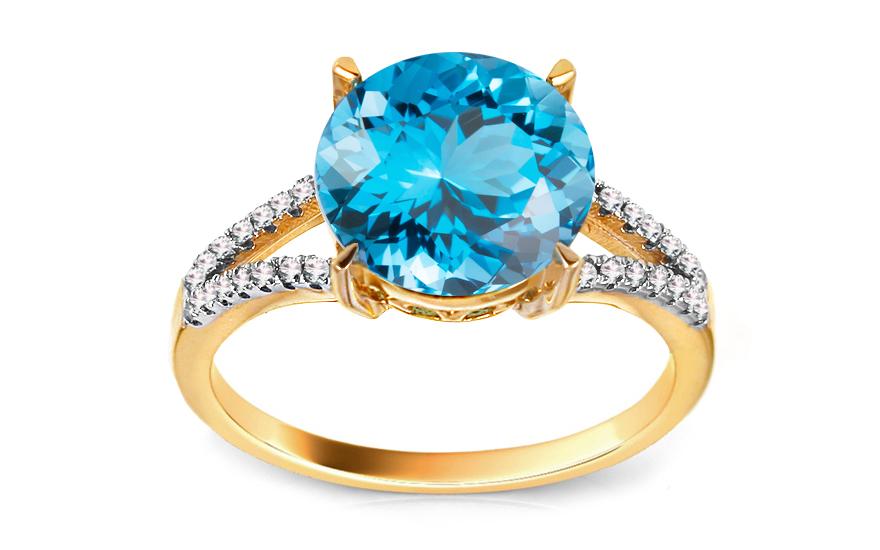 Zlatý diamantový prsten s topasem Beauté KU440