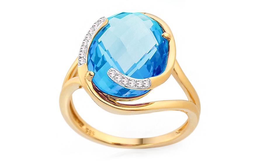Zlatý diamantový prsten s topasem Neveah IZBR192BT