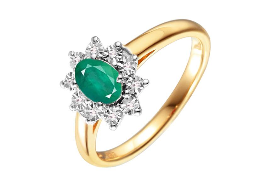 Zlatý diamantový prsten se smaragdem Clarisse IZBR181S