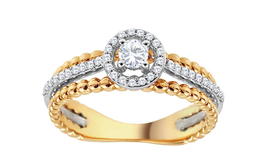 Zlatý diamantový prsten Tianna KU551