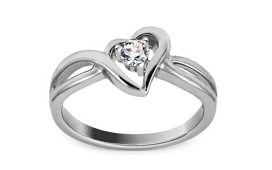 Zlatý diamantový zásnubní prsten se srdcem Jaclyn white KU382A