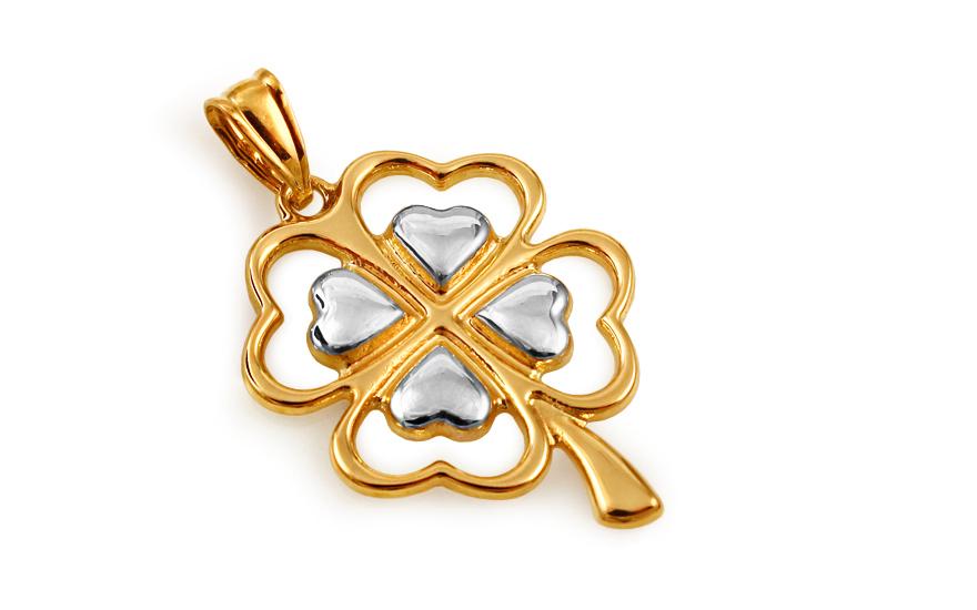 Zlatý dvoubarevný přívěsek čtyřlístek IZ10517