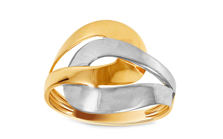 Zlatý dvoubarevný prsten IZ10708