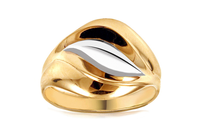 Zlatý dvoubarevný prsten IZ10737