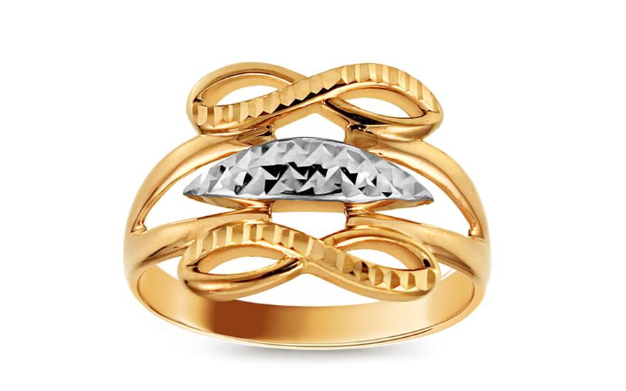 Zlatý dvoubarevný prsten nekonečno s gravírováním IZ10724