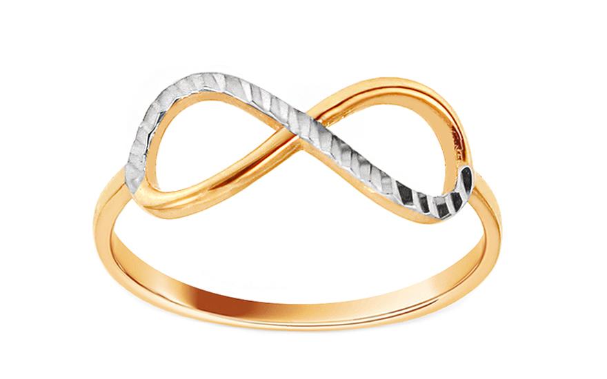 Zlatý dvoubarevný prsten nekonečno s gravírováním IZ11780