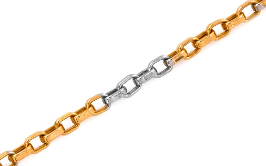 Zlatý kombinovaný náramek Anker 3 mm KOBR255
