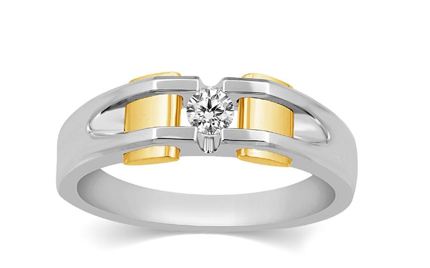 Zlatý kombinovaný pánský prsten s diamantem KU467