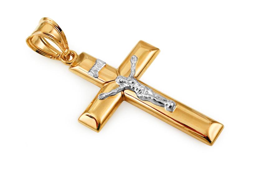 Zlatý kombinovaný přívěsek Ježíš na kříži IZ10485