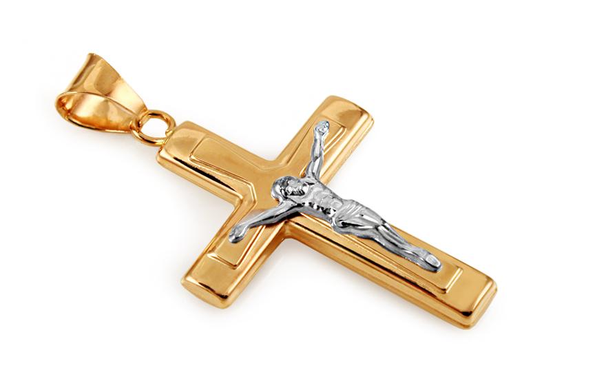 Zlatý kombinovaný přívěsek Ježíš na kříži IZ10640