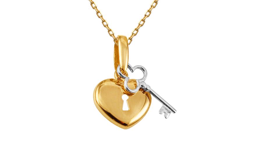 Zlatý kombinovaný přívěsek Klíč k srdci IZ10448