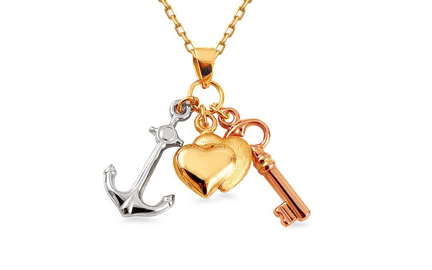 Zlatý kombinovaný přívěsek srdce, kotva, klíč IZ12469