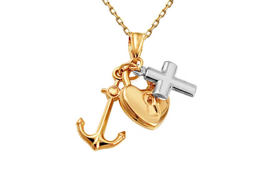 Zlatý kombinovaný přívěsek srdce, kotva, kříž IZ10608