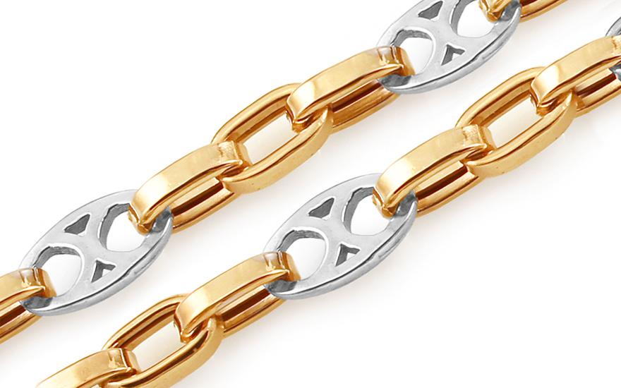 Zlatý kombinovaný řetízek Jasper 5 mm IZ11427