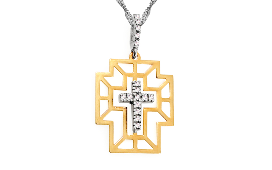 Zlatý křížek s kamínky IZ6546