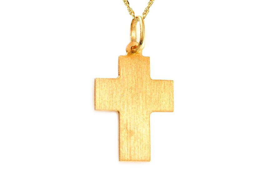Zlatý matovaný křížek IZ8504