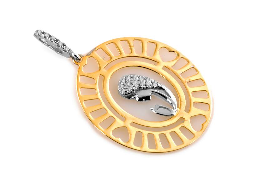 Zlatý medailon Matka Boží s kamínky IZ6543