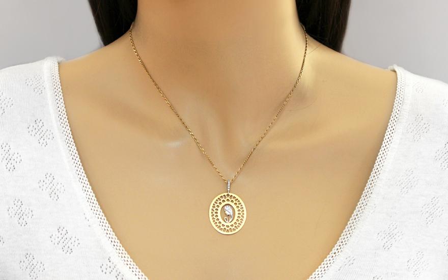 Zlatý medailon Matka Boží se zirkony IZ6544