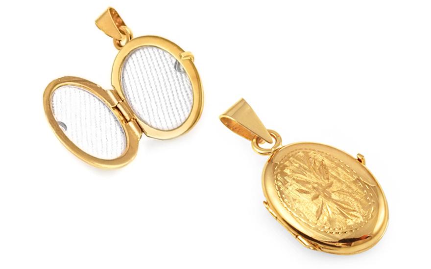 Zlatý medailon na fotku s gravírováním 84a2de2bb62