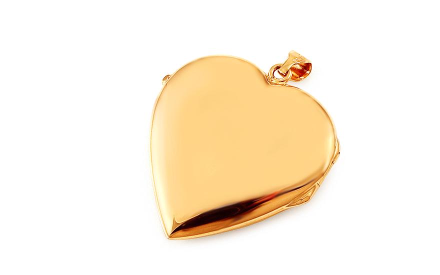 Zlatý medailon na fotku s gravírováním srdce 2fb21c42050