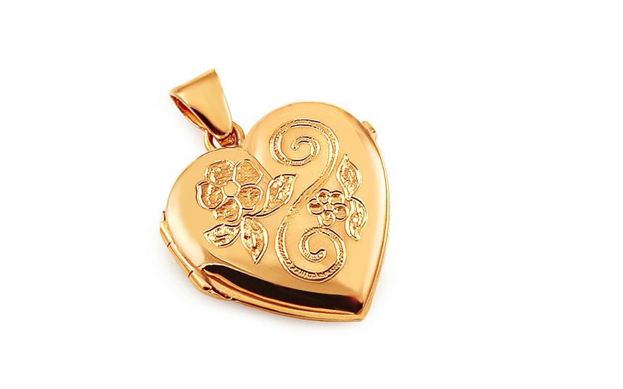 Zlatý medailon na fotku s květinovým gravírováním srdíčko fc9df63f608